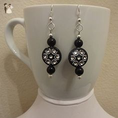 Lily Mist Princess Black and Silver Dangle Earrings - Wedding earings (*Amazon Partner-Link)