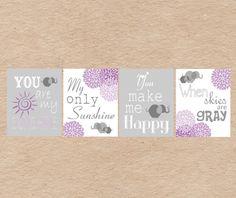 Elephant You Are My Sunshine Nursery Art DIY Printable-  Grey & Purple on Etsy, $13.59 AUD