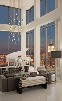 Getränke im Trump Soho Presidential Penthouse. -Polished Ends Concierge Lifestyle … - luxus Apartamento Penthouse, Interior Architecture, Interior And Exterior, Luxury Interior, Luxury Penthouse, Luxury Condo, Piano Room, Style Deco, Living Room Trends
