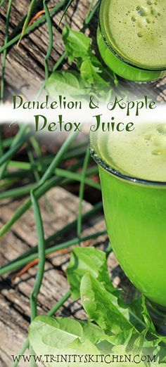 Dandelion & Apple Detox Juice by Trinity #juicing #plantpased #nutrition #dandelions