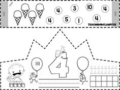4 RAKAMI tacı Preschool Education, Preschool Learning, Teaching Math, Numbers Kindergarten, Classroom Labels, Birthday Crafts, Printable Labels, Birthday Balloons, Pre School