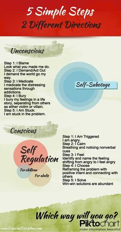 Amazing info graphic showing the difference between an unregulated and self-refulated life according to Dr. Becky Bailey's (Conscious Discipline) book Managing Emotional Mayhem. #iheartcd