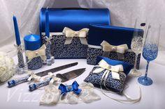 Encaje boda almohada azul mano pintado anillo por VIZZARA en Etsy
