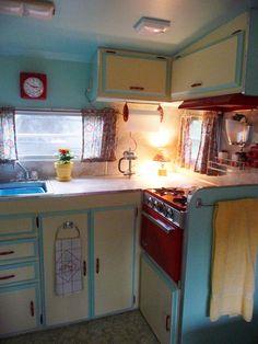 Shasta trailer interior...this is my camper's kitchen setup