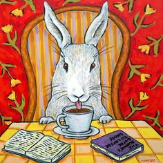 bunny rabbit coffee shop picture pet art tile coaster