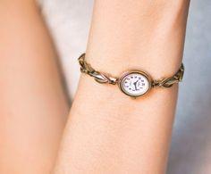 Petite watch bracelet her gold plated lady watch by SovietEra