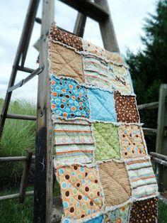 Baby Boy Rag Quilt Blanket Mod Tod. Blue, Green, Orange, Brown