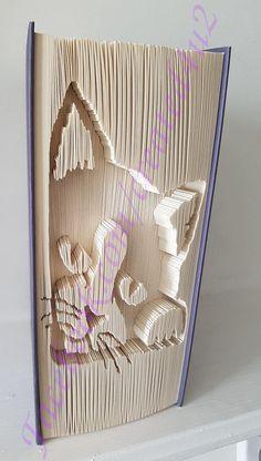 Cut & Fold Book Folding Pattern Unique Gift CAT In Corner