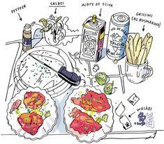Olivier Kugler's Portfolio - gq_sushimi3-1 Food Illustrations, Illustration Art, Note Pen, Food Sketch, Line Sketch, Food Drawing, Sketchbook Inspiration, Urban Sketching, Pen Art