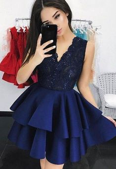 Navy Blue Tiered Homecoming Dresses, Party Gowns V