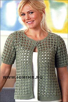 Openwork khaki jacket from Finnish designers. Uptown Chic Cardigan Uptown Chic Cardigan Technique - Crochet Double crochet clusters alternate with filet crochet rows to create the lacy striped pattern in This Pin was discovered by vir Débardeurs Au Crochet, Crochet Bolero Pattern, Pull Crochet, Gilet Crochet, Crochet Coat, Crochet Jacket, Freeform Crochet, Crochet Blouse, Crochet Clothes