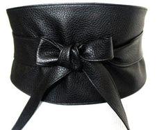 Black Leather Wide Obi Belt | Wide Waist Belt | Leather tie belt | Real Leather Belt| Handmade Belt | Plus size belts| various sizes