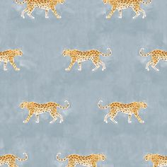 Caitlin McGauley for Studio Four cheetah wallpaper in blue