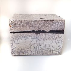 Raku ceramic box, transparent glaze, Jill E Rosenberg. SOLD
