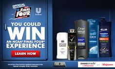 Enter to win an NCAA Final Four Experience when you purchase full-size products of Dove Men+Care, Degree Men, AXE, Vaseline or Suave Men at participating Walgreens! Ncaa Final Four, Dove Men Care, Got Game, Gift Card Giveaway, Enter To Win, Money Saving Tips, Finals, Coupons, Giveaways