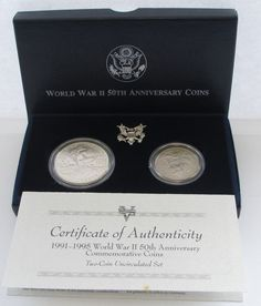 1991-1995 WW II 50TH ANNIVERSARY COMMEMORATIVE 2 COIN UNCIRCULATED SET