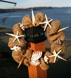 Burlap Beach House Wreath with Nautilus Shell