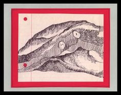Clothing Landscape - Pen Drawing: shirts, buttons, mountains, hills