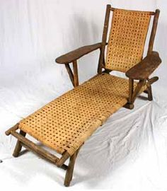 Old Hickory Furniture Martinsville paddle arm lounge chair. x x Recaned? Some wear to caning. Splits and wear to hickory ends. Slightly lop-sided. Old Hickory Furniture, Rustic Furniture, Outdoor Furniture, Outdoor Decor, Martinsville Indiana, Little Log Cabin, Black Bear, Furniture Making, Rustic Decor