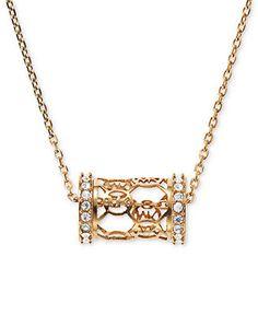 Michael Kors Necklace, Gold-Tone Pave Monogram Barrel Pendant Necklace - Michael Kors - Jewelry & Watches - Macy's