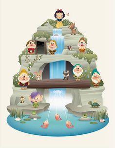 Snow White and the Seven Dwarfs Disney Cute, Kawaii Disney, Disney Cartoons, Disney Movies, Disney Characters, Disney Parks, Disney Pixar, Princesse Disney Swag, Cute Disney Drawings