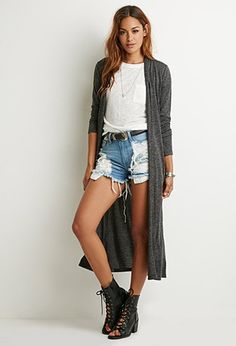 Longline Heathered Cardigan | Forever 21 - 2000154063