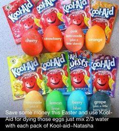 Kool Aid Easter Egg dyes