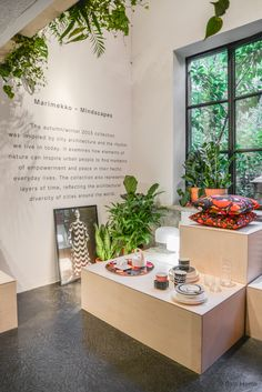 Marimekko, Milan Design Week 2015.  Designed by  Rosanna Orlandi the booth looks at city architecture and its rhythm. It examines how urban people can find moments of empowerment and peace in their hectic everyday lives by bringing elements of nature into their homes.