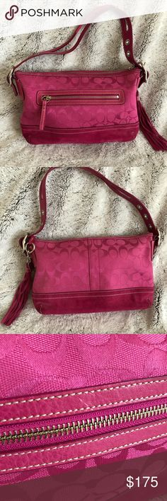 Coach Handbag Gently worn Coach signature handbag. Color is a magenta pink. There are stains on the bottom corners and a white scratch on front. Coach Bags Shoulder Bags