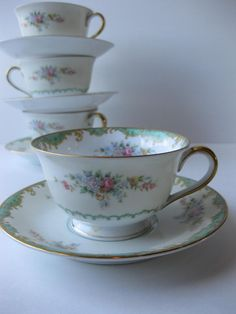 Vintage Noritake Pink Green Floral Teacup & Saucer by thechinagirl, $9.50