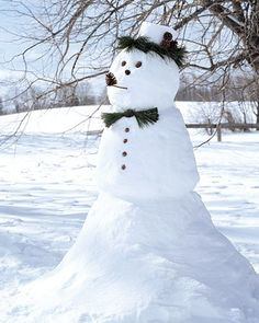 Gather pinecones, and arrange them any way you like to form facial features and accessories for a snowman.