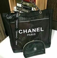 773629103e9b Chanel Paris CC Logo Black Ribbon Mesh Gold Hardware Beach Tote Shopping Bag  and Makeup Organiser Pouch VIP GIFT