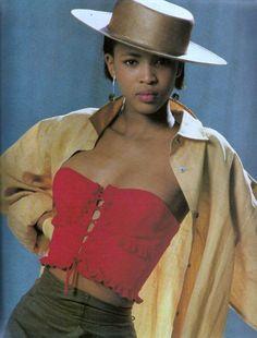"Elle US May 1987  ""Color Contrasts""  Model: Naomi Campbell  ph: Marc Hispard  via http://loveisinvogue.tumblr.com/"