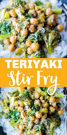 This Teriyaki Stir Fry with Broccoli and Chickpeas is a 30 minute, one pan vegan dinner that's so easy to make! It's also a great way to get your kids to enjoy broccoli! These Teriyaki Stir Fry Bowls are also great for meal prep! #teriyaki #kidfriendly #vegandinner #mealprep Broccoli Pasta, Fresh Broccoli, Best Vegetarian Recipes, Asian Recipes, Teriyaki Stir Fry, Crispy Tofu, Lunch Meal Prep, Canned Chickpeas, Stir Fry Recipes