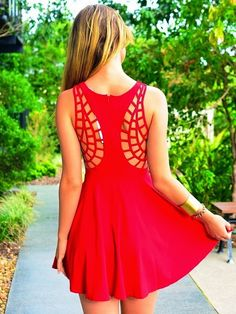 MODE THE WORLD: Red Geometrical Detail Back Dress