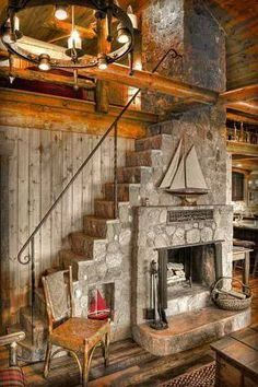 Intriguing fireplace incorporating stairs to the loft. Cabin Homes, Log Homes, Future House, My House, A Frame House, Cabins And Cottages, Fireplace Design, Fireplace Stone, Stairways