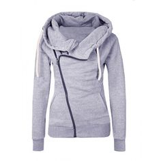 Gray Casual Solid Hooded Hoodies Sweatshirts