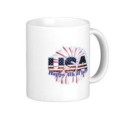 USA text flag in faux glitters Happy 4th of July Mug by #PLdesign #4thOfJuly #USASparkles #SparklesMug