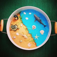 Beach Kmart play tray - Sand, Gelli-baff and sea creatures Which animal lives on the sand and which one lives in the water Montessori Activities, Craft Activities For Kids, Infant Activities, Activity Ideas, Fish Crafts Preschool, Rainbow Fish Crafts, Beach Play, Sand Play, Tuff Tray