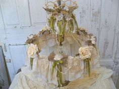 Shabby chic Victorian lamp shade decorated recycled materials tattered home decor  OOAK Anita Spero. $235.00, via Etsy.