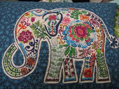 elephant quilt with embroidery