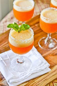 peach Champagne Cocktails: Peach Sorbet, Champagne, Courvoisier, Triple Sec.. Rim glasses with Sugar ?.