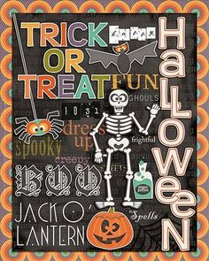 Free adorable Halloween Subway Art printable. Resize for project life!
