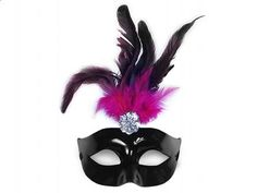 Škraboška čierno-ružová s pierkom Samba, Glamour, Sweet Sixteen, Kobe, Mardi Gras, Deadpool, Fancy, Superhero, Elegant