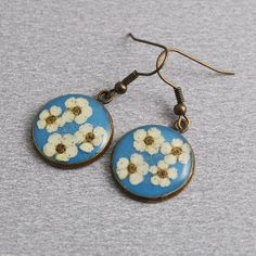 Real flowers small earrings  resin with white natural by PikLus, $10.00