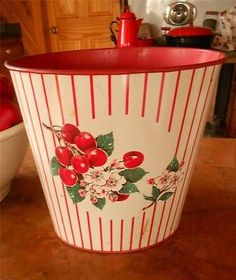 Vtg Metal/Tin Waste Basket w/ Red Cherries Trash Can-paint galvanized trash can!
