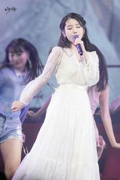 Iu Gif, Lee Dong Wook, K Idols, Crushes, Tulle, White Dress, Concert, Skirts, People