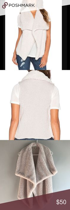 BB Dakota Sherpa Sweater Vest. This vest is so cozy you will never want to take it off. Fuzzy soft Sherpa on the front and knit sweater on back. Fall is coming and you will want this in your closet. Great condition. Thanks for shopping my closet. BB Dakota Jackets & Coats Vests