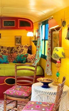 gypsie caravan in France CLICK----LOTS more amazing caravan wagons and tiny guest houses with different decorating themes