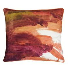 """Cotton pillow with a fingerpaint-inspired design.     Product: Pillow Construction Material: 100% Cotton  Color: Mango  Features: Insert included Dimensions: 17"""" x 17"""""""